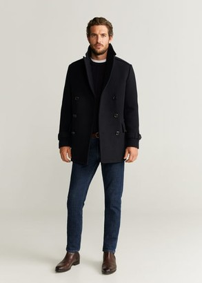 MANGO MAN - Double-breasted wool coat dark navy - XS - Men