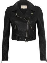 River Island Womens Black leather belted biker jacket