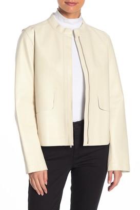 Cole Haan Lambskin Leather Zip Jacket