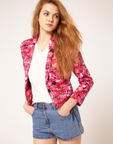 ASOS Blazer In Pink Floral Rose Print