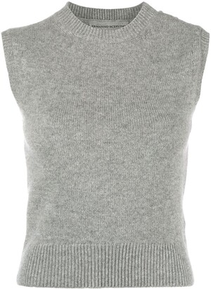 Ermanno Scervino Jewel Button Fine Knit Vest Top