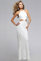 Faviana s7788 Halter Sequined Cutout Evening Gown