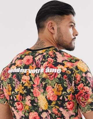 Asos Design DESIGN skinny fit t-shirt with all over floral and back print-Multi