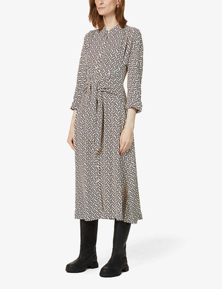 Whistles Snaffle stretch-crepe midi shirt dress