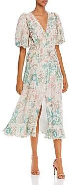 HEMANT AND NANDITA Printed Lace Trim Dress
