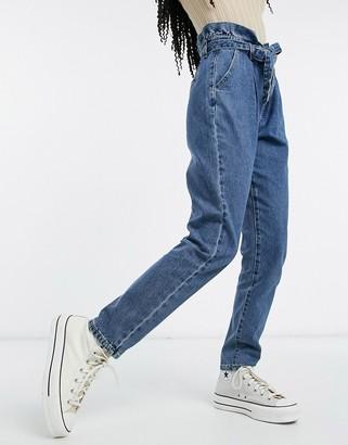 Vila tie-waist denim jeans in blue
