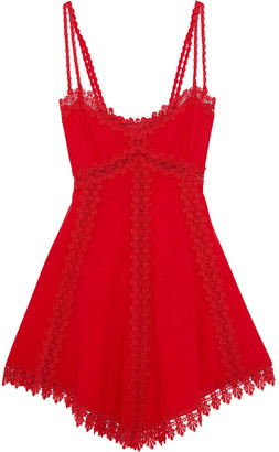 Charo Ruiz Ibiza Lotta Crocheted Lace-trimmed Shirred Cotton-blend Voile Mini Dress