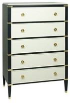 The Well Appointed House Gramercy Tall Chest in Linen and Navy