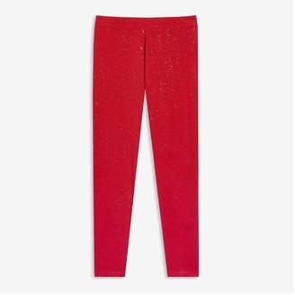 Joe Fresh Kid Girls' Sparkle Legging, Red (Size M)