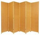 Oriental Furniture Woven Fiber Room Divider Natural/Rust