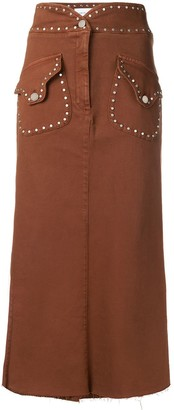 Alberta Ferretti Stud-Embellished Midi Skirt