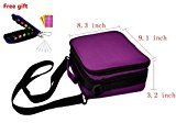 Portable Essential Oil Soft Carrying Case/Shockproof Organizer Bag Holds 42 Aromatherapy Bottles(5ml,10ml,15ml), Come with Key Chain, Glass Roller Vials, Cap labels , Droppers, Purple