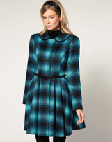 Asos Check And Belted Fit And Flare Coat