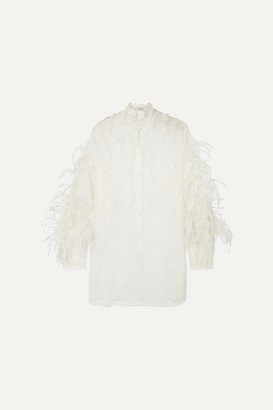Valentino Feather-trimmed Ruffled Silk-organza Blouse - Ivory