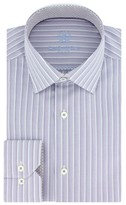Bugatchi Men's Trim Fit Stripe Dress Shirt