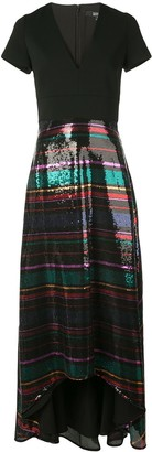 Badgley Mischka V-neck sequin gown