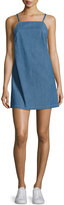 3x1 Twist Sleeveless Open-Back Denim Dress, Blue