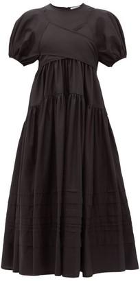 Cecilie Bahnsen Elisa Tie-back Tiered Cotton-poplin Midi Dress - Womens - Black