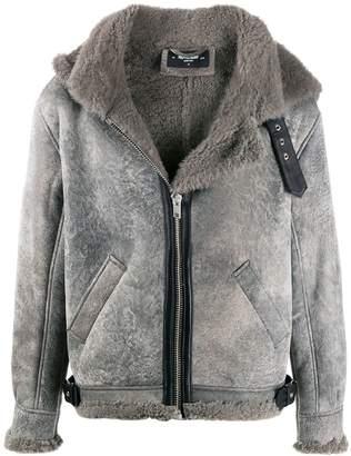 Represent hooded sheepskin jacket