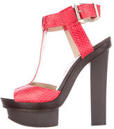 Brian Atwood Snakeskin T-Strap Sandals