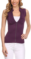 Purple Rhinestone Zip-Up Vest