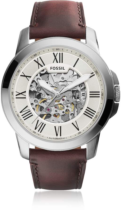 Fossil Grant Automatic Dark Brown Leather Men's Watch