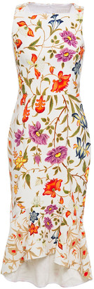 Peter Pilotto Fluted Floral-print Stretch-crepe Midi Dress