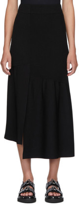 3.1 Phillip Lim Black Ribbed Asymmetric Skirt