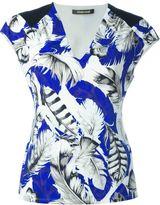 Roberto Cavalli feather print V-neck T-shirt - women - Polyamide/Spandex/Elastane - 44