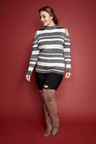Fashion to Figure Marnie Metallic Stripe Cold Shoulder Sweater