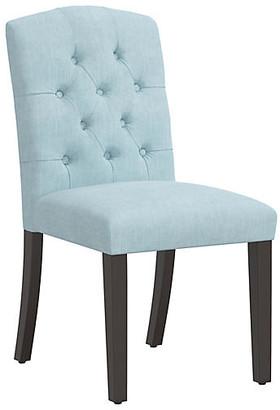 One Kings Lane Lea Tufted Side Chair - Light Blue Linen