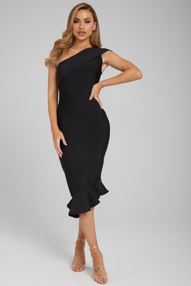 Made By Issae The 'Katreen' Black One Hand Midi Bandage Dress