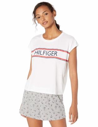 Tommy Hilfiger Women's Short Sleeve Top Shirt and Logo Lounge Bottom Pajama Set Pj