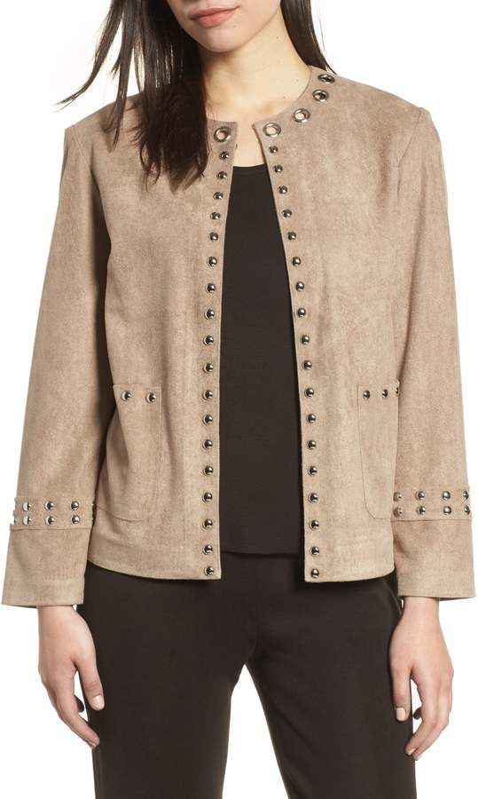 Ming Wang Embellished Faux Suede Jacket