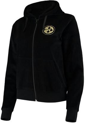 Women's Black Pittsburgh Steelers Velour Suit Full-Zip Hoodie