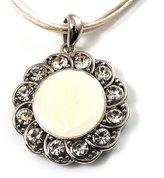 Avalaya Milk White Crystal Enamel Medallion Cotton Cord Pendant ( Tone) -38cm