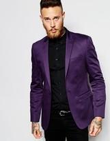 Asos Skinny Blazer In Cotton - Purple