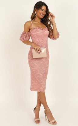Showpo The Magic Touch Dress in dusty rose lace - 6 (XS) Dresses