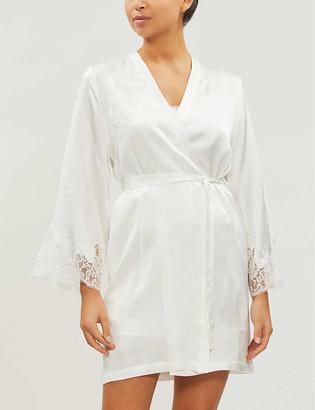 Marjolaine Gemma lace-trim silk-satin robe