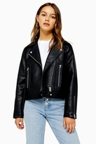 Topshop Womens Petite Black Faux Leather Biker Jacket - Black