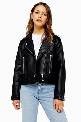 Topshop PETITE Black Faux Leather Biker Jacket
