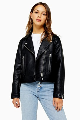 Topshop Womens Petite Black Faux Leather Biker Jacket - Black
