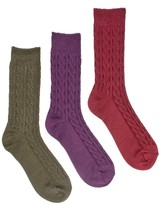 Muk Luks Cable Crew Sock - Pack of 3