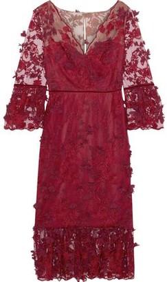 Marchesa Velvet-trimmed Floral-appliqued Embroidered Tulle Midi Dress