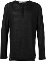 Isabel Benenato long sleeve Henley T-shirt - men - Linen/Flax - S