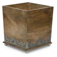 The GG Collection Wood and Metal Square Heritage Collection Footed Wastebasket