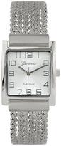 Geneva Platinum Silvertone Square Bracelet Watch