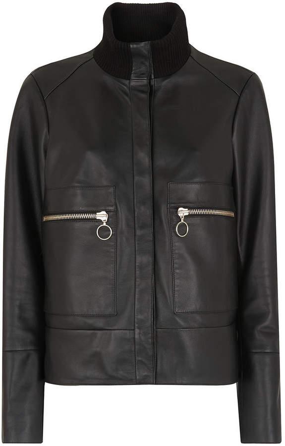 Whistles Rib Collar Leather Jacket