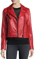 Rag & Bone Chrystie Leather Moto Jacket, Red