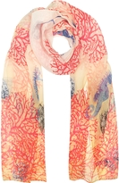 Mila Schon Ivory Coral Reef Printed Chiffon Silk Stole